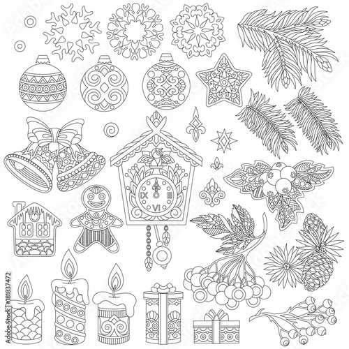 Christmas decorations. Coloring page of vintage retro decor elements ...