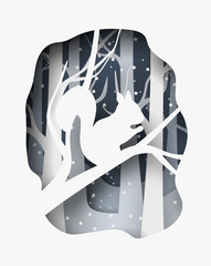 Hello winter 3d abstract paper cut illustration of snow squirrel in the forest. Vector template
