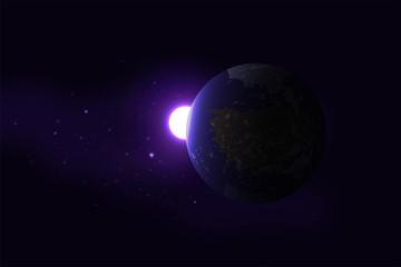 Planet aufgehende Sonne Universum