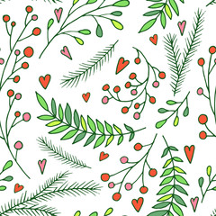 Vector seamless pattern - Christmas decoration elements. Hand drawn branches, berries and leaves