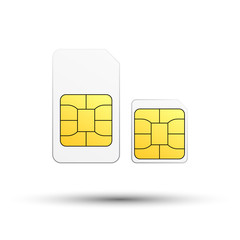 Sim card and micro sim card on white background