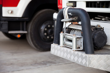 Tow hook from a large fire engine. Is an emergency towing tool To help other cars in an accident or car can not drive.