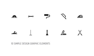 Set Of 10 Editable Tools Icons. Includes Symbols Such As Sawblade, Sweeper, Potato Peeler And More. Can Be Used For Web, Mobile, UI And Infographic Design.