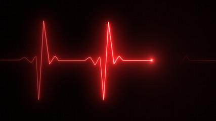 Cardiogram cardiograph oscilloscope screen red illustration background