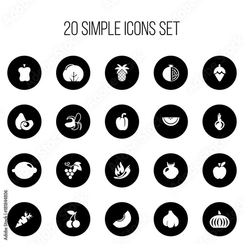 Set Of 20 Editable Fruits Icons Includes Symbols Such As Paprika