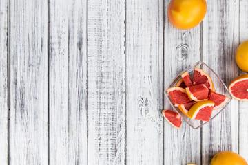 Grapefruit slices (selective focus)