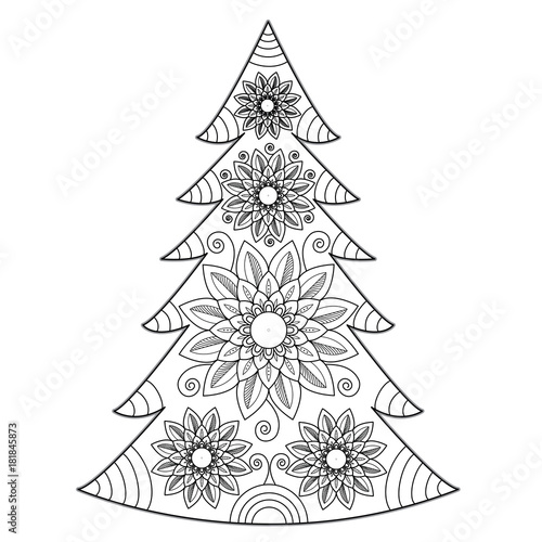 Mandala Christmas Tree Vector For Coloring Book Albero Di Natale Vettoriale Da Colorare