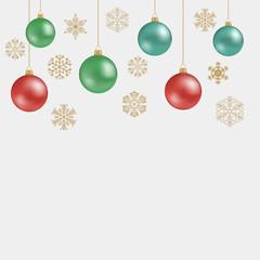 Christmas snowflakes and balls. Vector illustration.