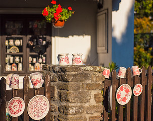 Nice painted ceramics in the old town of Tihany, Hungary
