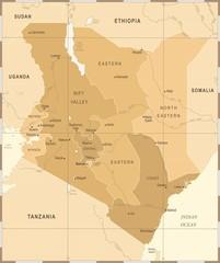 Kenya Map - Vintage Detailed Vector Illustration