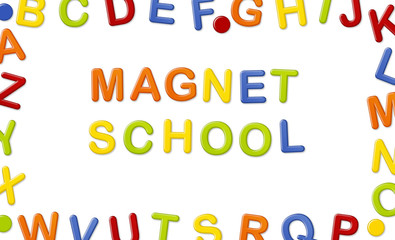Educational Systems made out of fridge magnet letters isolated on white background: Magnet School