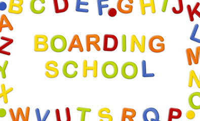 Educational Systems made out of fridge magnet letters isolated on white background: Boarding School