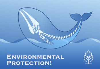 Poster Environmental Protection! with the silhouette and skeleton of a whale in the waves