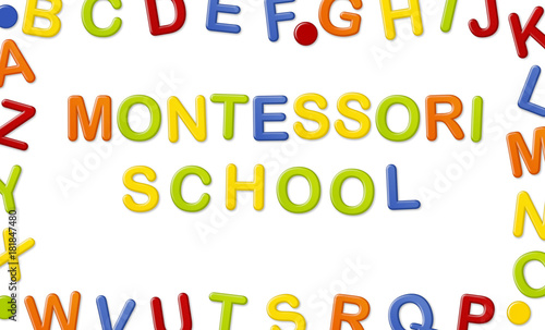 educational systems made out of fridge magnet letters isolated on white background montessori school