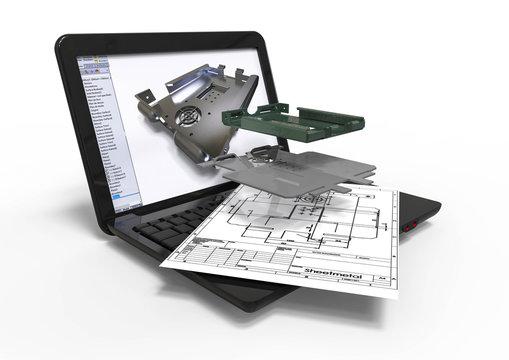 Computer aided Design sheet metal / 3D render image representing computer aided sheetmetal design