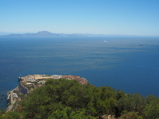 View from the top of the Rock of Gibraltar across the Strait of Gibraltar with Morocco in the distance