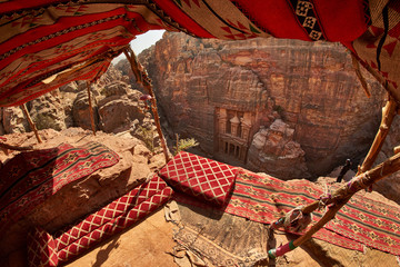 View from above of Treasure and the ancient city of Petra, Jordan