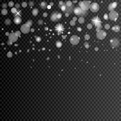 eps 10 vector blurred falling snow with bokeh effect isolated on transparent background. Editable graphic effect layer for greeting cards, web, print, design. Merry Christmas and Happy New Year design