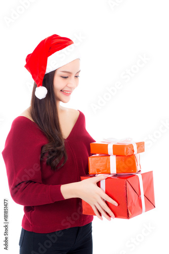 b6912b27c475a Happy asian woman with smile holding gift box many of xmas