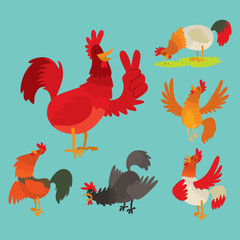 Cute cartoon rooster vector illustration chicken farm animal agriculture domestic bird character.