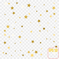 Gold glitter Confetti stars background. Scatter on top made of gold glittering confetti stars. Vector illustration.