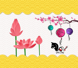 Chinese New Year Background with blossom and lantren. Year of the dog