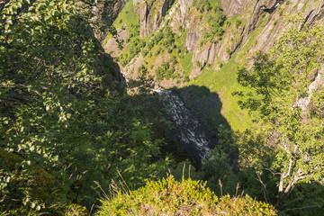 Voringsfossen waterfall canyon valley in Hardangervidda, Norway