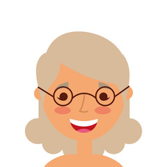 old woman portrait lady grandma cartoon vector illustration