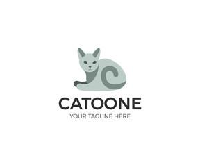 Cat Logo Template. Pet Simple Vector Design. Animal colored Illustration