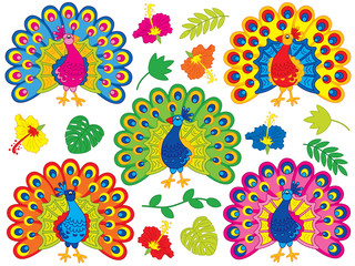 Vector Set with Cute Cartoon Peacocks, Tropical Leaves and Hibiscus