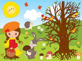 Vector Set with Cute Little Girl, Forest Animals, Birds and Plants