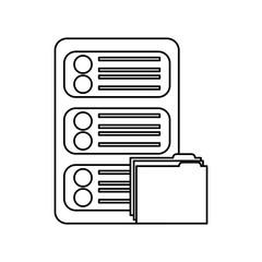 data center server folder file document organize vector illustration