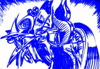 Abstract hand drawn futuristic forms. Fantastic dreams of blue curves, lines and shapes.