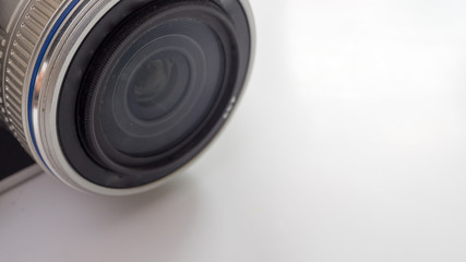 close up lens on white background