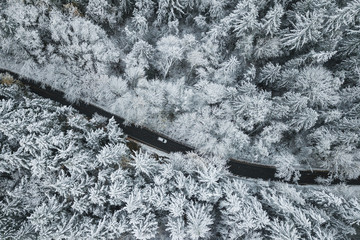 Aerial view of a road passing through snow covered forest