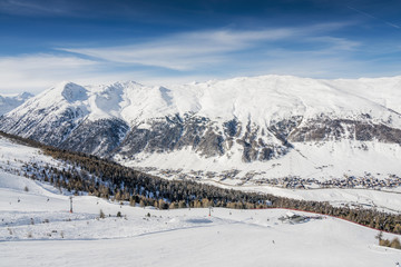 Alpine Ski Resort And Ski Slopes in Winter Season, Livigno, Italy