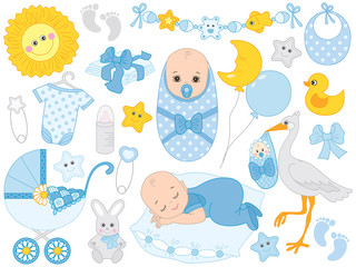 Vector Set with Cute Baby Boy, Stork, Toys and Accessories