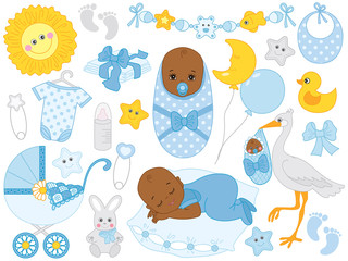 Vector Set with Cute Little African American Baby Boy, Stork, Toys and Accessories