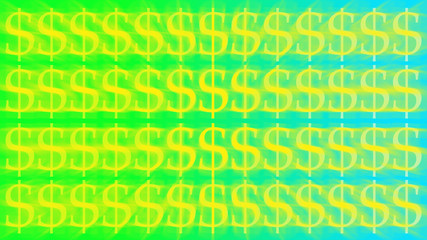 A colorful blurry dollar sign pattern background image.