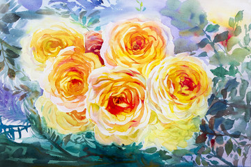 Painting art watercolor orange,yellow color of the roses.