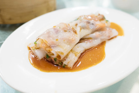 Steamed Rice noodle roll filled with pork barbecue