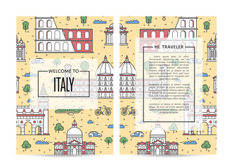 Italy traveling banners set with famous monuments and space for text. Touristic tour vector advertising for travel agency. Italian architectural landmarks and traditional symbols in linear style.