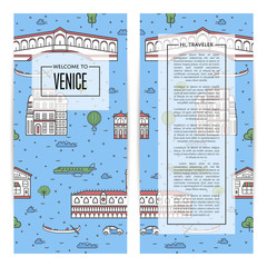 Venice traveling flyers set with famous monuments. Touristic tour advertising for travel agency, european voyage vector illustration. Italian traditional architectural landmarks in linear style.