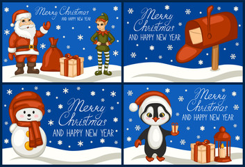Merry Christmas and happy new year. A set of greeting cards. Santa Claus, penguin, snowman, Inbox, elf, gift, snow. The cartoon style. Vector illustration.