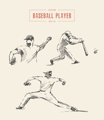 Baseball players drawn vector illustration sketch