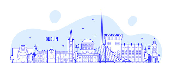 Wall Mural - Dublin skyline Ireland vector buildings city