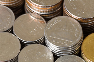 background business concept thai coin stack, copper thai coin
