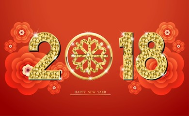 Happy Chinese new year 2018. Template design. With inspiration from snowflake. Red and gold color. Vector illustration.