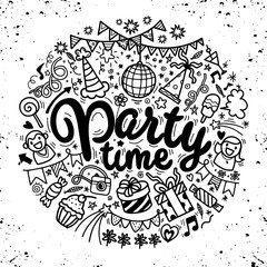 Hand drawn  doodle party set. Sketch icons for invitation  flyer  poster,Vector