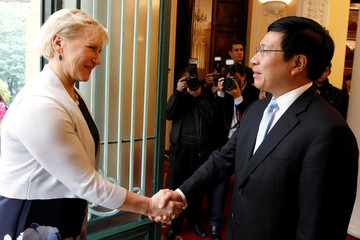 Sweden's Foreign Minister Wallstrom meets Vietnam's Deputy Prime Minister and Foreign Minister Pham Binh Minh in Hanoi